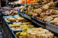 Colors of Israel. Jerusalem Israel May 24, 2018 Closeup of various pastries sold in the market of Jerusalem in Israel in the evening Stock Photo