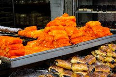 Colors of Israel. Jerusalem Israel May 24, 2018 Closeup of various pastries sold in the market of Jerusalem in Israel in the evening Stock Images