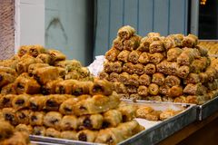 Colors of Israel. Jerusalem Israel May 24, 2018 Closeup of various pastries sold in the market of Jerusalem in Israel in the evening Royalty Free Stock Photo