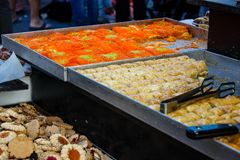 Colors of Israel. Jerusalem Israel May 24, 2018 Closeup of various pastries sold in the market of Jerusalem in Israel in the evening Stock Photos