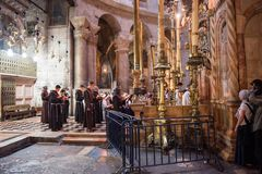 Franciscan monks in the Church of the Holy Sepulchre royalty free stock photos