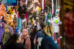 Palestinian people in the Muslim Quarter of Jerusalem Royalty Free Stock Photography