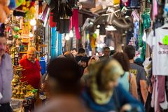 Palestinian people in the Muslim Quarter of Jerusalem Royalty Free Stock Image