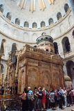 Holy Tomb, Church of Holy Sepulchre. JERUSALEM, ISRAEL - MAY 15, 2018: Pilgrims waiting to enter in the Rotunda, Jesus`s Holy Tomb, in the Church of Holy stock photo