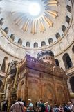 Holy Tomb, Church of Holy Sepulchre. JERUSALEM, ISRAEL - MAY 15, 2018: Pilgrims waiting to enter in the Rotunda, Jesus`s Holy Tomb, in the Church of Holy royalty free stock photos