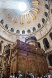 Holy Tomb, Church of Holy Sepulchre. JERUSALEM, ISRAEL - MAY 15, 2018: Pilgrims waiting to enter in the Rotunda, Jesus`s Holy Tomb, in the Church of Holy royalty free stock image