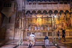 Stone of Unction, Church of the Holy Sepulchre, Jerusalem stock image
