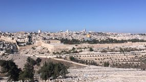 Jerusalem israel mountofolive panorama view Stock Images