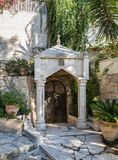 The courtyard of Church of Mary Magdalene in Jerusalem, Israel. Jerusalem, Israel, November 17, 2018 : The courtyard of Church of Mary Magdalene in Jerusalem stock photography