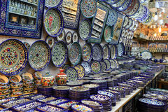 Jerusalem, Israel - October 17, 2016. Ceramic plates and other s Royalty Free Stock Photography