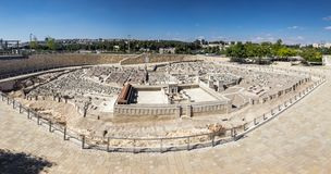 Large panoramic view of Model of Jerusalem in the Second Temple. JERUSALEM, ISRAEL - OCTOBER 13, 2017: Large panoramic view of Model of Jerusalem in the Second stock image