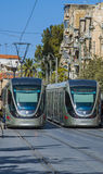 JERUSALEM, ISRAEL -October 28, 2016 :  Light Rail tram train .  is the most visited city by tourists in. JERUSALEM, ISRAEL -October 28, 2016 : Jerusalem Light Royalty Free Stock Image