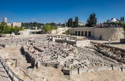 The Model of Jerusalem in the Second Temple Period. JERUSALEM, ISRAEL - OCTOBER 13, 2017: The Model of Jerusalem in the Second Temple Period stock photography