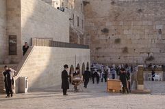 Wailing Wall - part of the ancient wall around the Temple Mount in the Old City of Jerusalem. Stock Photo