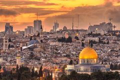 Jerusalem, Israel Old City. Skyline at dusk from Mount of Olives royalty free stock photography