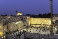 Jerusalem, Israel old city at the Western Wall and the Dome of the Rock. Kotel in Urban Renewal stock photos