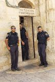 Jerusalem, Israel, 09/11/2016: Police at the Church of the Holy Sepulcher stock image