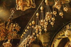 Jerusalem, Israel, 09/11/2016: Rich interior of the ceiling in the temple of the Holy Sepulcher, close-up royalty free stock photography