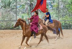 Horse riding of participants of annual Knights Festival in Jerusalem. Israel stock image