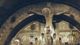 JERUSALEM, ISRAEL- SEPTEMBER, 20, 2016: interior shot church of the holy sepulchre crucifixion site