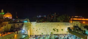 Night scene of the Western Wall Stock Photography