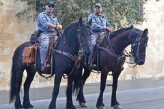 Jerusalem, Israel - 07 September, 2018: the police of the city of Jerusalem. Cop and horses stock images