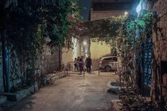 Silent street at night in Nachlaot district of Jerusalem, Israel. Jerusalem, Israel, September 10, 2015 :  Silent street at night in Nachlaot district of Royalty Free Stock Image