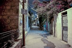 Silent street at night in Nachlaot district of Jerusalem, Israel. Jerusalem, Israel, September 10, 2015 :  Silent street at night in Nachlaot district of Royalty Free Stock Photography