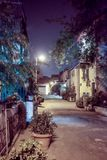 Silent street at night in Nachlaot district of Jerusalem, Israel. Jerusalem, Israel, September 10, 2015 :  Silent street at night in Nachlaot district of Stock Photo