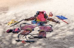 Traditional samurai armor lying in the sand for all to see at the annual festival `Jerusalem Knights` stock photography