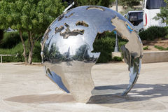 Jerusalem/ Israel - 23-05-2015: Statue of a big mirrored globe Royalty Free Stock Images