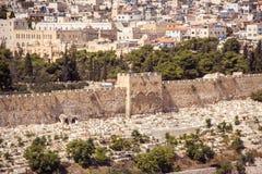 Jerusalem Israel, tempelberg utan moskén El-Aqsa Arkivfoto