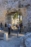 Jerusalem, Israel 15th September 2017 Tourist pass through the gate in the old city of Jerusalem Royalty Free Stock Photography