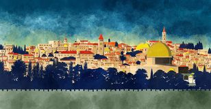 Jerusalem, Israel: view of the Dome of the Rock and the old city. Hand drawn stock illustration
