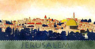 Jerusalem, Israel: view of the Dome of the Rock and the old city Stock Images