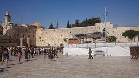 JERUSALEM, ISRAEL - 31.08.2015: The wailing wall of the ancient temple of Israel in Jerusalem. Built by Herod the Great on the royalty free stock image