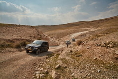 Jerusalem - 10.04.2017: Jeep vehicle in a trek, at the Israeli m Royalty Free Stock Photos