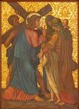 Jerusalem - Jesus möter kvinnorna av Jerusalem målarfärg från slut av 19 cent i armenierkyrka av vår dam Of The Spasm Royaltyfria Bilder