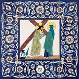 Jerusalem - The Jesus meet his mother. he ceramic tiled station of Cross way in st. George anglicans church Stock Images
