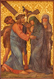 Jerusalem - The Jesus meet his mother paint  in Armenian Church Of Our Lady Of The Spasm. Royalty Free Stock Photo