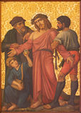 Jerusalem - The Jesus Stripped of His Garments paint. From end of 19. cent. by unknown artist as part of cross way cycle in Armenian Church Of Our Lady Of The royalty free stock photos