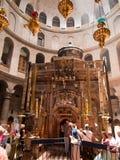 JERUSALEM - Juli 13: Grekiskt kapell av kyrkan av heliga Sepulchr Arkivfoto