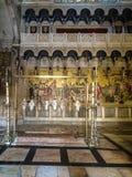 JERUSALEM - Juli 15: Sten av smörja av Jesus i Holen Arkivbild