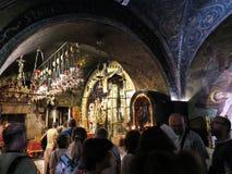 JERUSALEM - Juli 15: Stena Golgotha, stället av Jesuss död I Arkivfoto