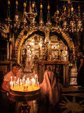JERUSALEM - Juli 15:  Stone of the Anointing of Jesus in the Hol Royalty Free Stock Images