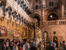 JERUSALEM - Juli 15: Stone of the Anointing of Jesus in the Holy Stock Photos
