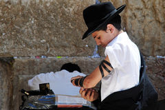 The Wailing Wall - Israel. JERUSALEM  - JULY 28:Jewish Man wrapped in tefillin pray at the Western Wall on July 28 2009 in Jerusalem, Israel..It's the most Stock Photo