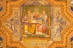 Jerusalem - kejsare Wilhelm Ii och drottning Auguste Victoria Måla på tak av den evangelikala Lutherankyrkan av uppstigningen Arkivfoton