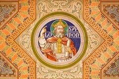 Jerusalem - konungen Salomon Måla på taket av den evangelikala Lutherankyrkan av uppstigningen Arkivfoton