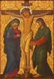 Jerusalem - korsfästelsemålarfärgen från slut av 19 cent i armenierkyrka av vår dam Of The Spasm Arkivfoton